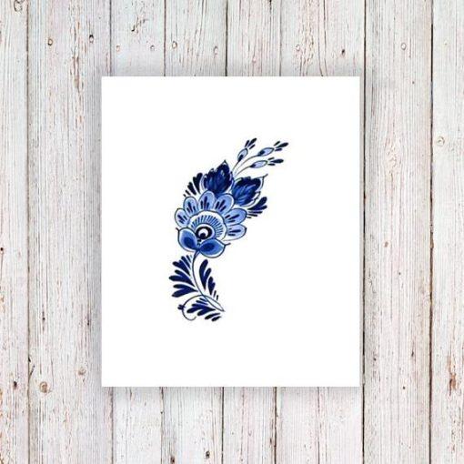 Small Delft Blue floral tattoo