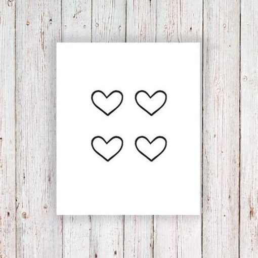 Small hearts temporary tattoo set (4 pieces)