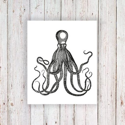 Steampunk vintage octopus temporary tattoo