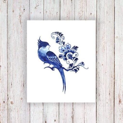 Delfts Blue bird and flower tattoo