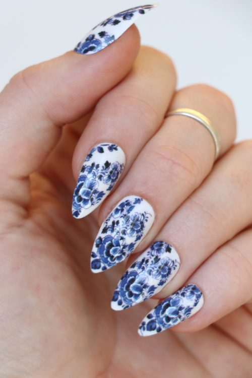 Delft Blue nail decals / blue floral nail stickers