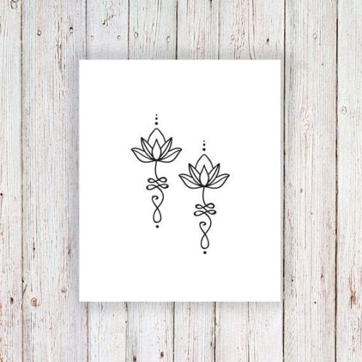 Unalome lotus temporary tattoo (set of 2)