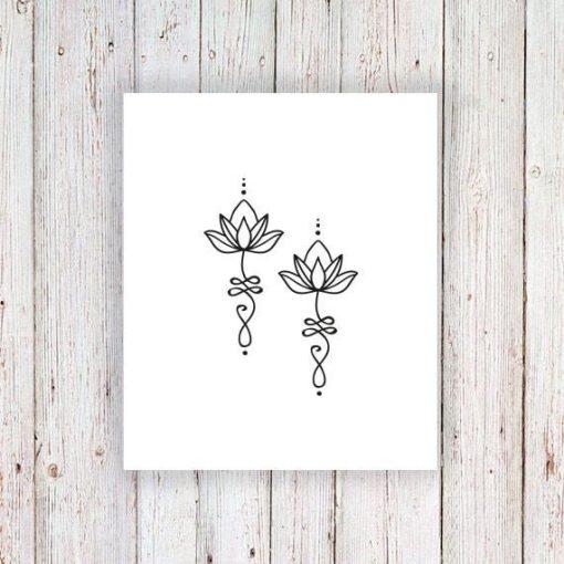 Unalome lotus temporary tattoo (set of 2)