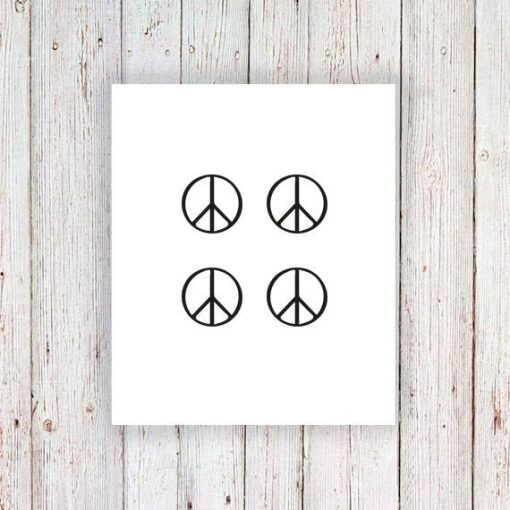 Peace sign temporary tattoos (4 pieces)