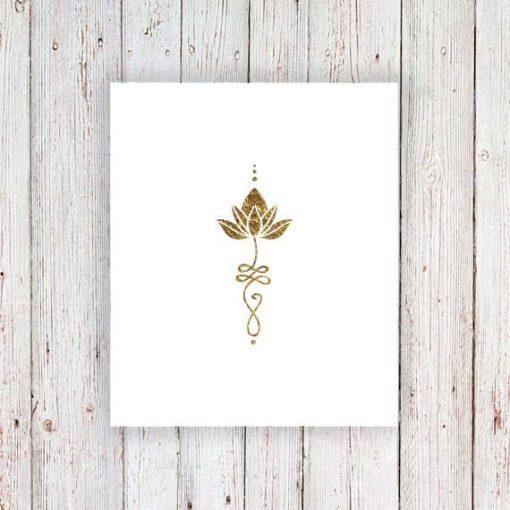 Gold ulanome lotus temporary tattoos