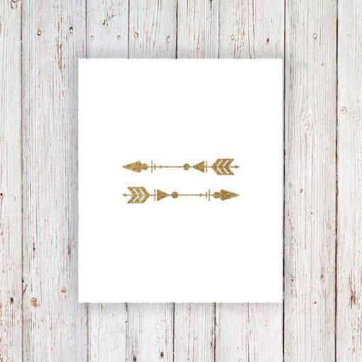 Gold arrow temporary tattoos (set of 2)