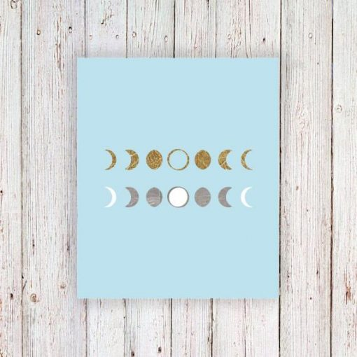 Gold and silver moon phase temporary tattoos