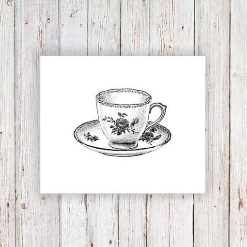 Small teacup temporary tattoo