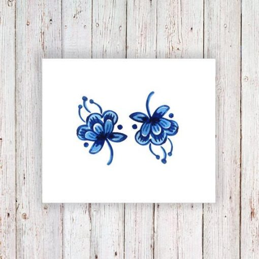 Small Delft Blue flower tattoo (set of 2)