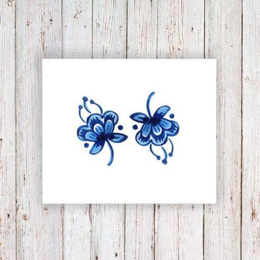 Small Delft Blue flower tattoo (set of 2)