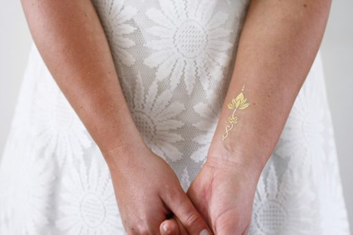 Gold ulanome lotus temporary tattoos