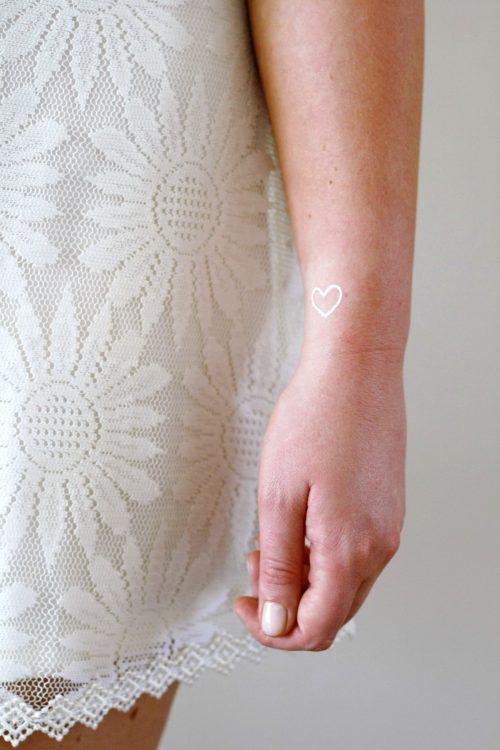 Small white hearts temporary tattoos