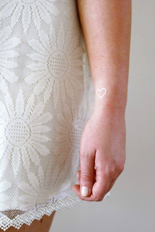 Small white hearts temporary tattoos