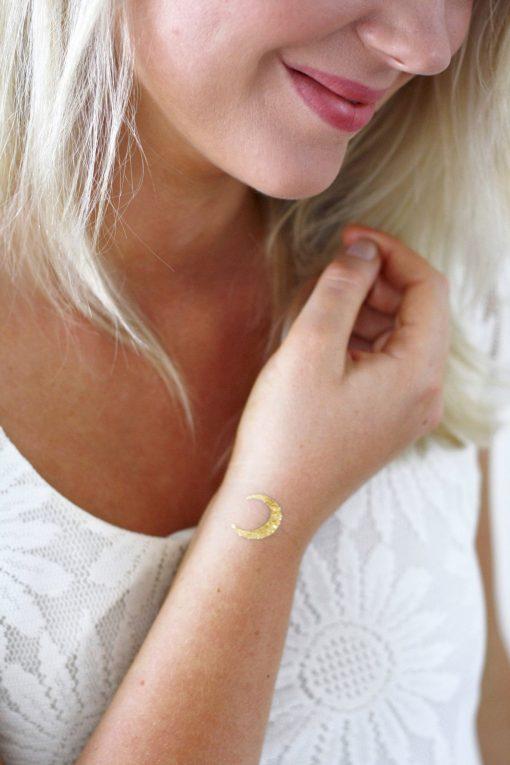 Small gold moon temporary tattoos