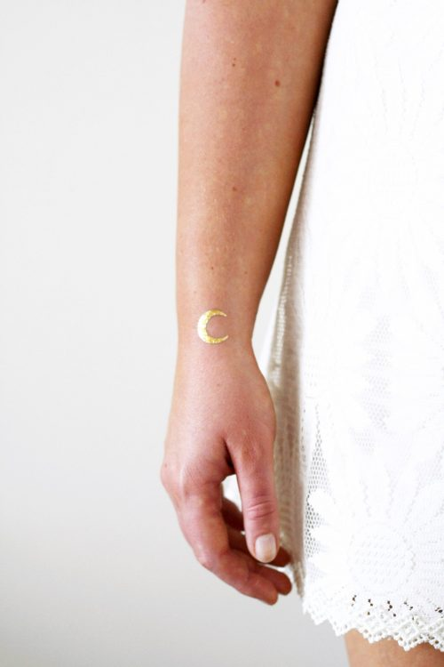 Small gold moon temporary tattoos