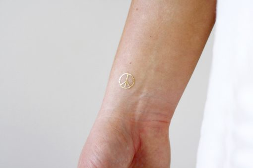 White and gold peace signs temporary tattoos