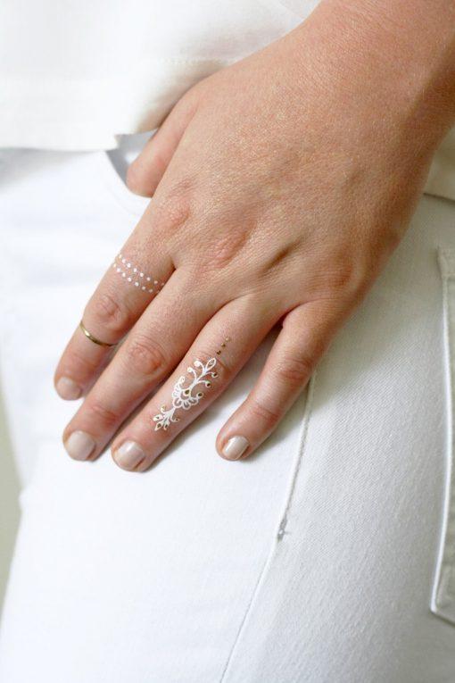 White and gold bindi temporary tattoos