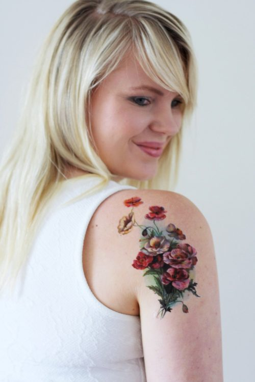 Large vintage poppy temporary tattoo