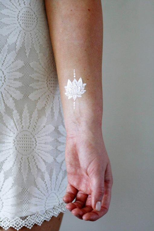 Silver and white lotus temporary tattoos