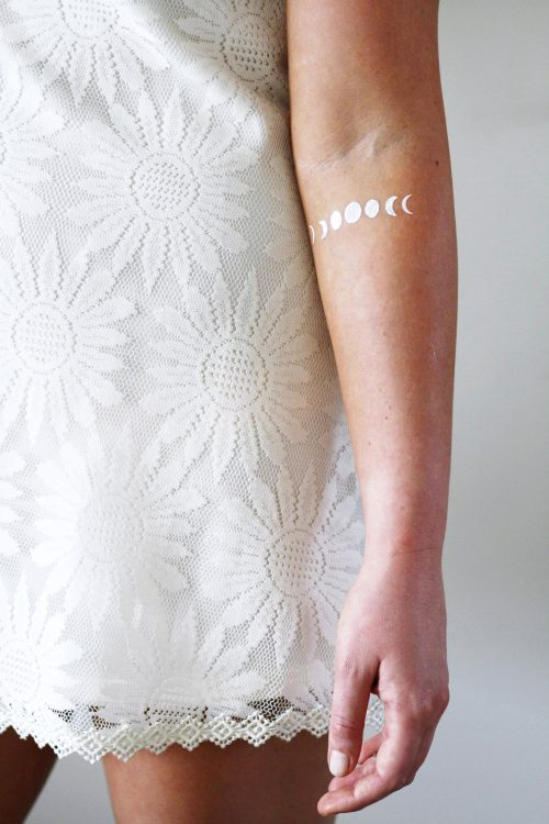 Silver and gold moon phase temporary tattoos