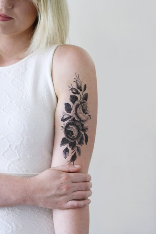 Large vintage roses floral temporary tattoo