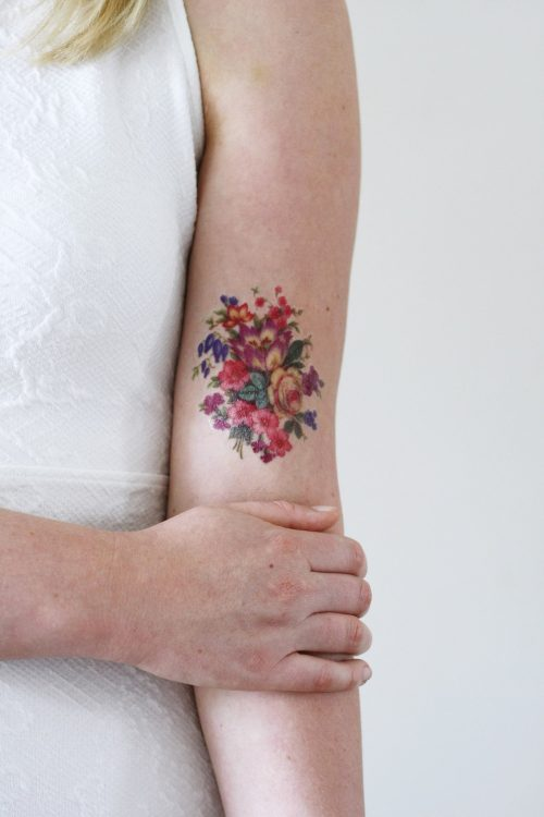 Pretty colorful vintage floral temporary tattoo