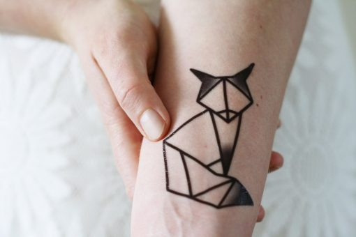 Geometric fox temporary tattoo