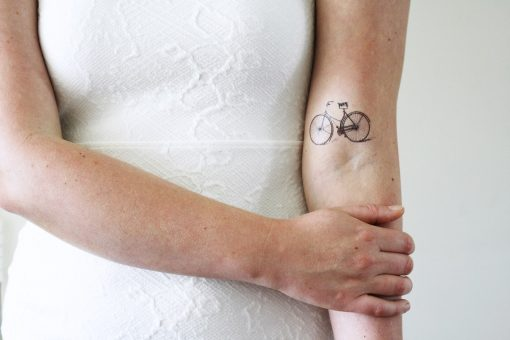 Vintage bicycle temporary tattoo