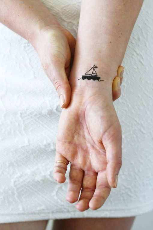 Two small boat temporary tattoos (2 pieces)