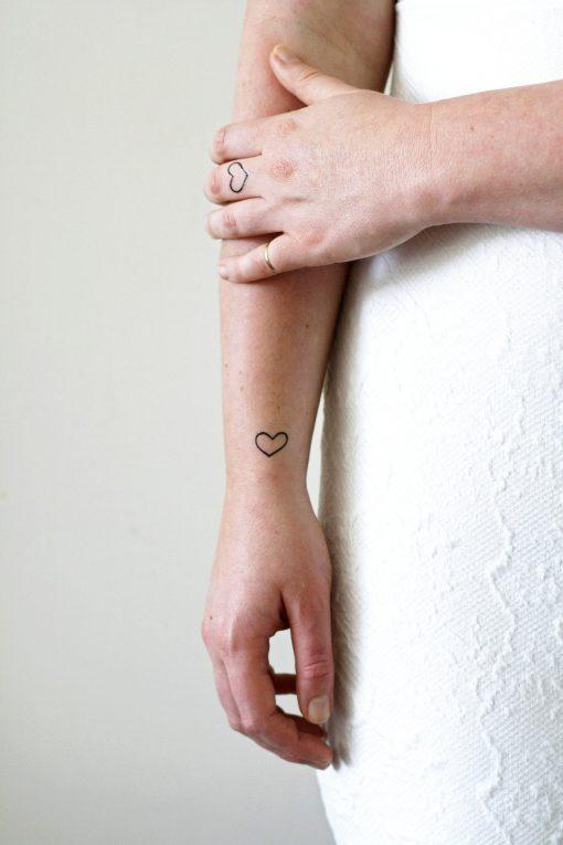 Small hearts temporary tattoo set (4 pieces)