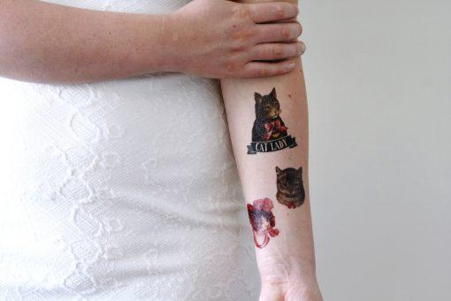 Cat lady set temporary tattoo (3 pieces)