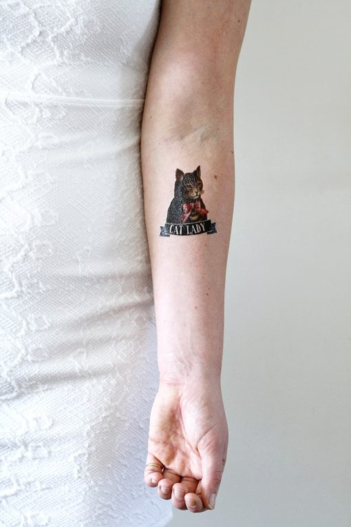 Cat lady temporary tattoo