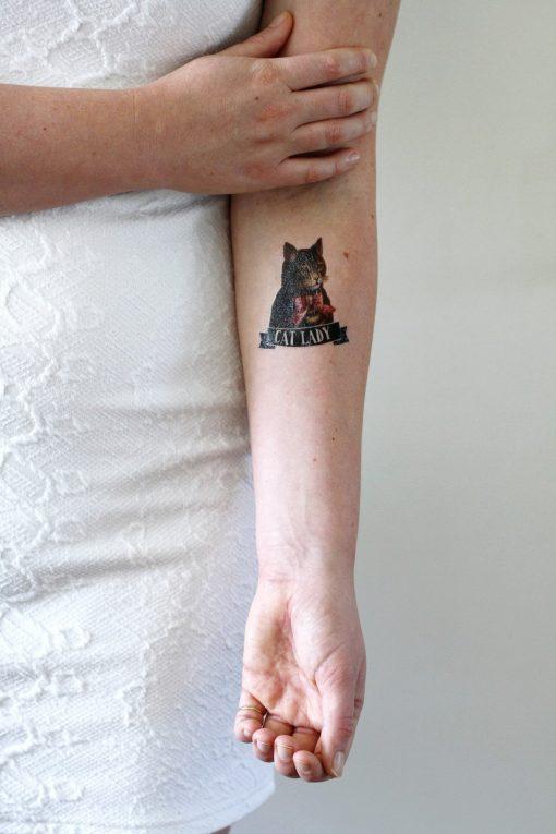 Cat lady temporary tattoo