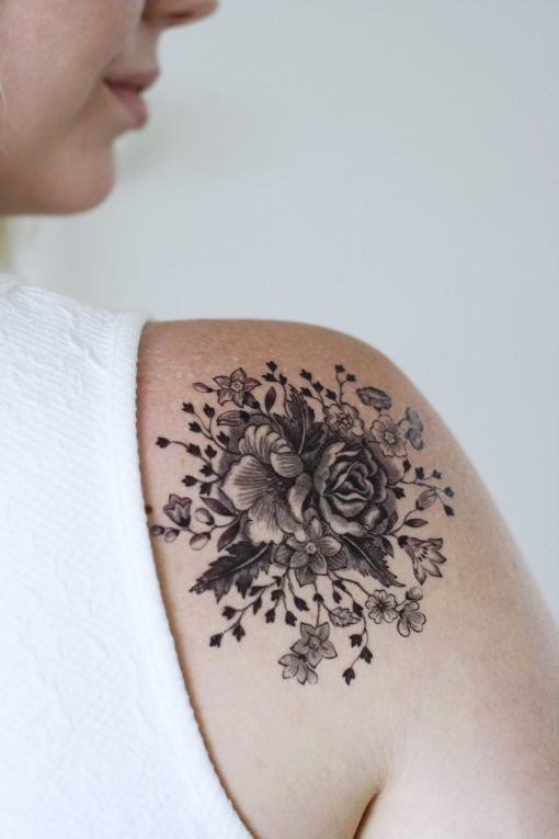 Large vintage black and white floral temporary tattoo