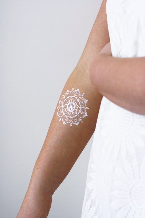 White mandala temporary tattoo