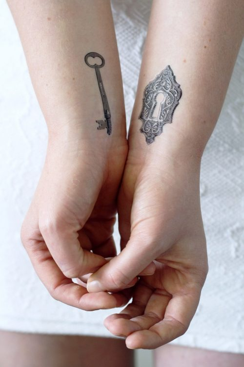 Key and lock temporary tattoo