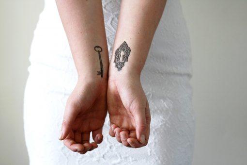 Key and lock temporary tattoo