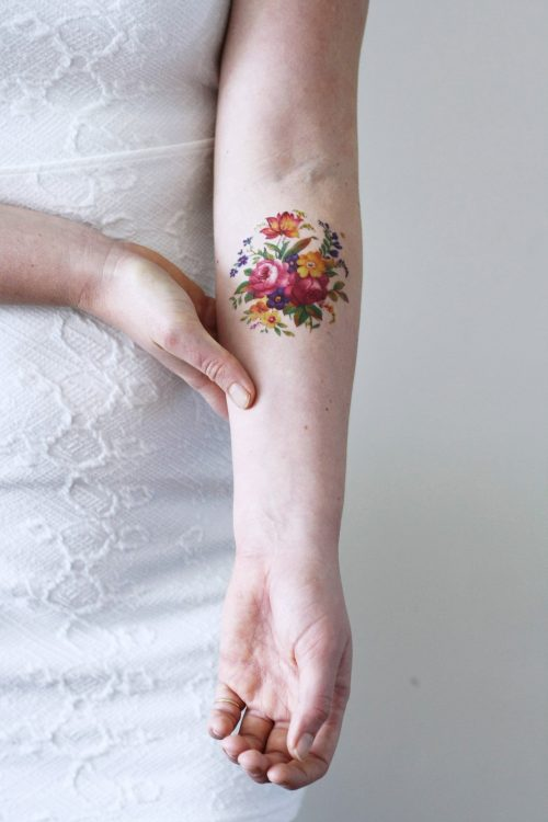 Colorful round floral temporary tattoo