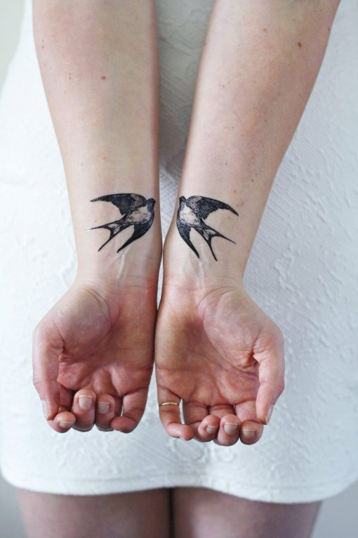 Swallow temporary tattoo