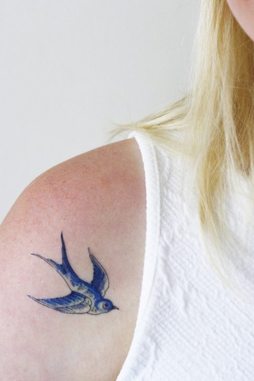 Delfts Blue swallow tattoos