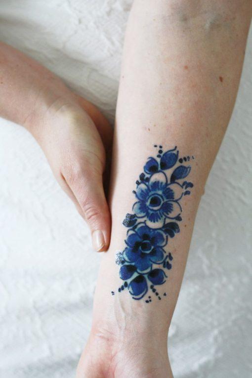 Delft Blue flower tattoo