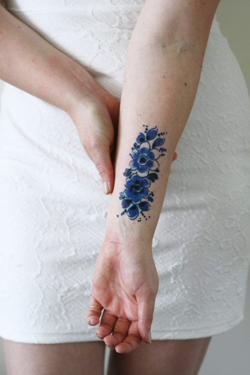 Delft Blue flower tattoo