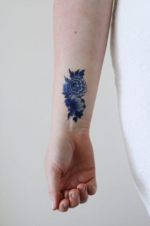 Delfts Blue flower tattoo