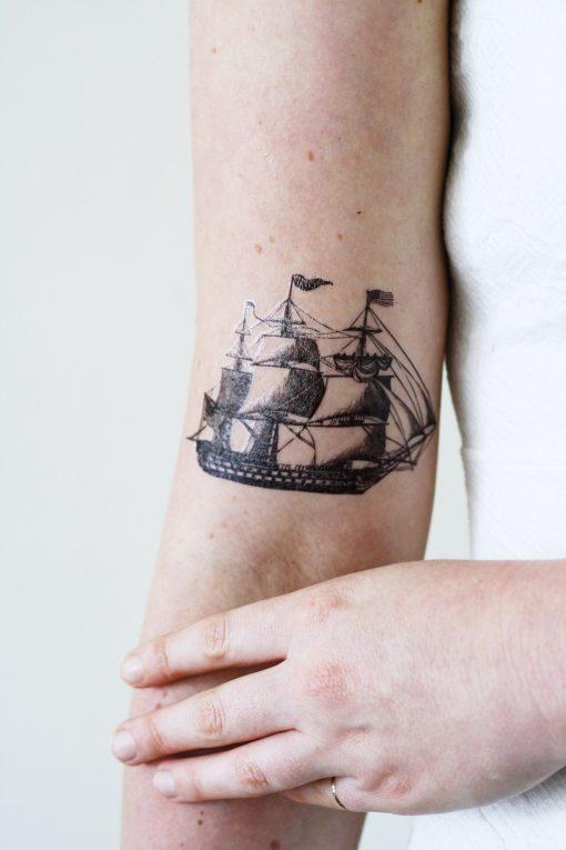 Vintage ship temporary tattoo