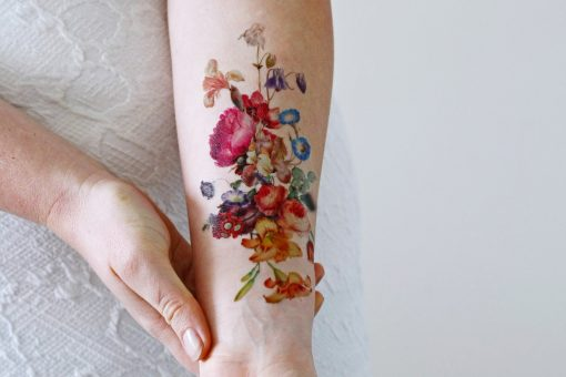 Beautiful large vintage floral temporary tattoo