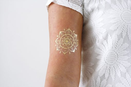 Gold mandala temporary tattoo