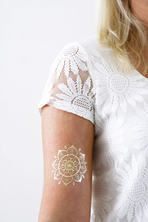 Gold mandala temporary tattoo