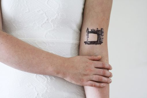 Vintage sewing machine temporary tattoo