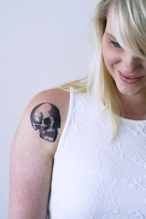 Vintage skull temporary tattoo