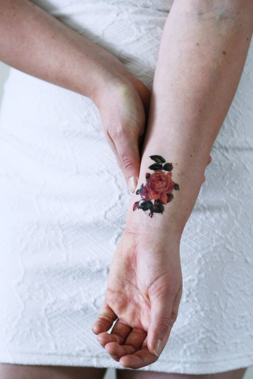 Small pink rose temporary tattoo